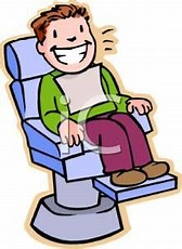 Sitting in dental chair